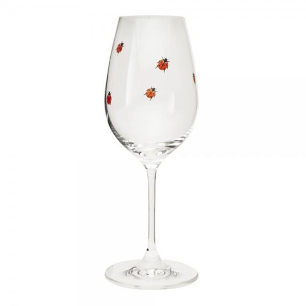 Glas - Rotweinglas - mit Marienkäfer-Aufdruck