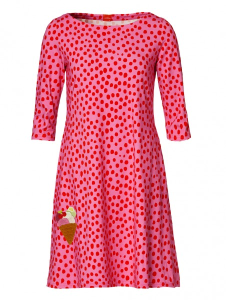 Du Milde - Carolines Pinkdotted Love - Langarmkleid rosa pink Punkte mit Eis-Häkelei