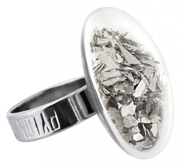 Pylones - Ring - Medium Galet Perles - Flakes silber