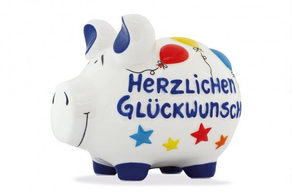 Sparschwein - Spardose Mittelschwein - Herzlichen Glückwunsch