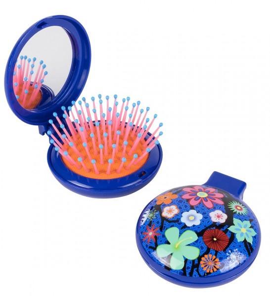 Pylones - Pocket Haarbürste mit Spiegel - Lady Retro - Blue Flower