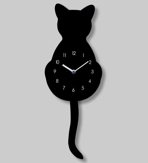 Pylones - Wanduhr Pendeluhr Katze - Horloge Chat - schwarz