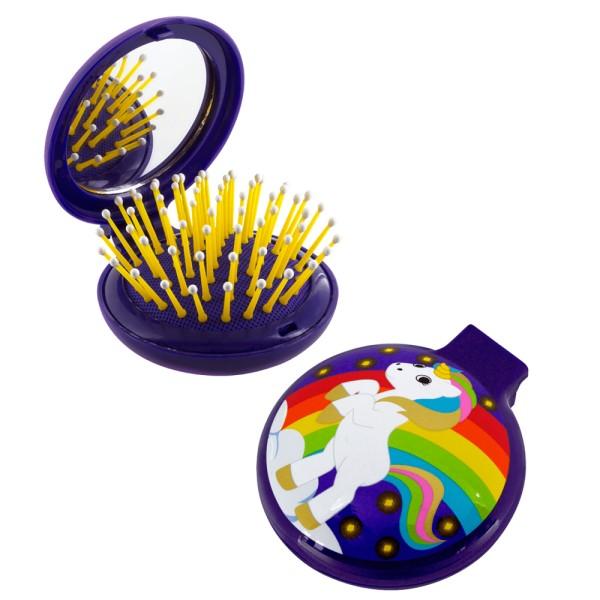 Pylones - Pocket Haarbürste mit Spiegel - Lady Retro - Unicorn Einhorn