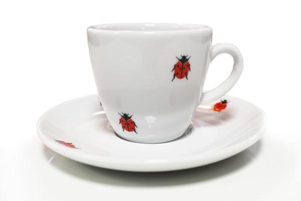 Espressotasse mit Untertasse Klassik mit Marienkäfer-Aufdruck