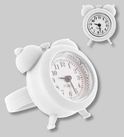 Pylones - Uhren-Ring - Ring mit Uhr - Nano Watch - weiß