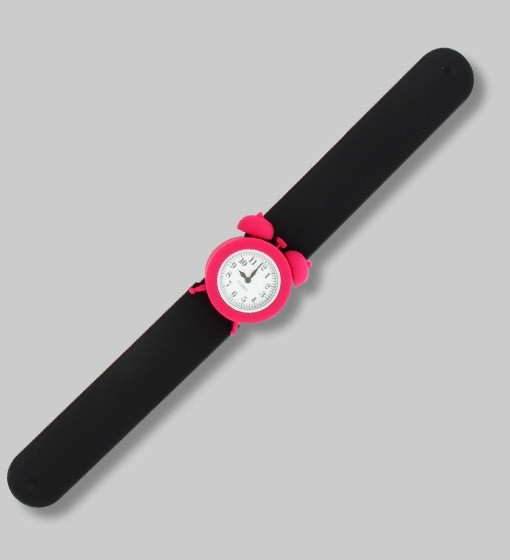 Pylones - Uhr Silikon Reflexarmband - My Time - schwarz pink
