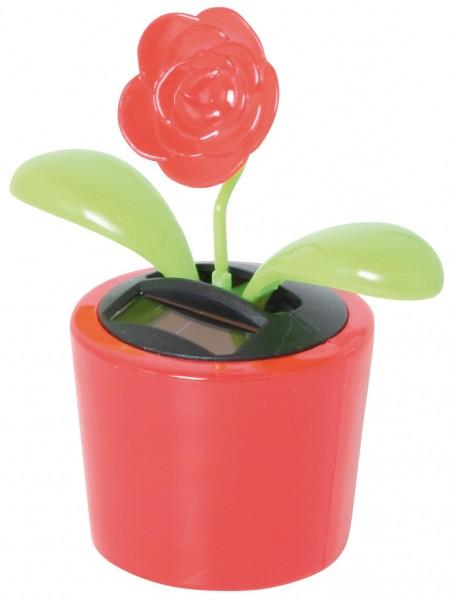 Wackelblume im Blumentopf Solarblume Solarfigur - Blume rot