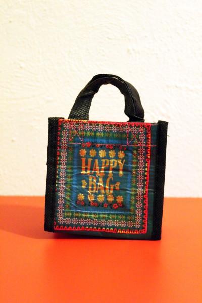 Mini-Tasche Täschchen - Mini Happy Bag Watercolor - grün rot gemustert