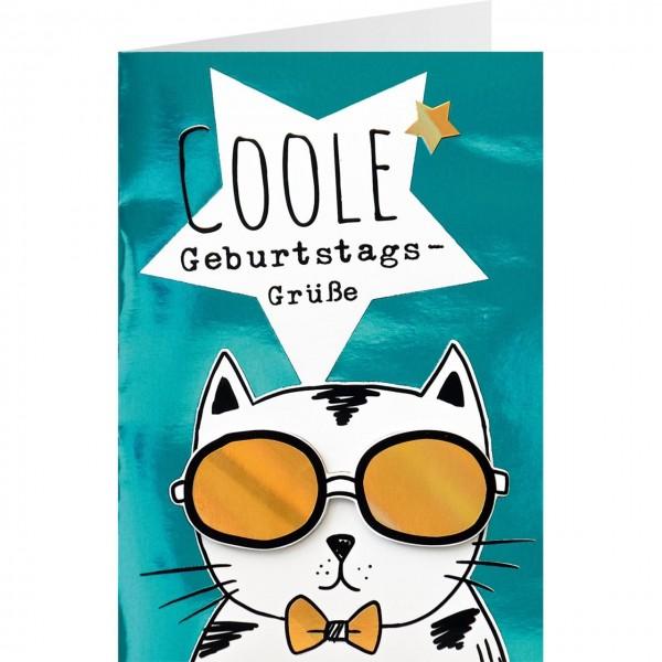 Gruss Und Co Glanz Glitzer Karte Geburtstag Katze Coole