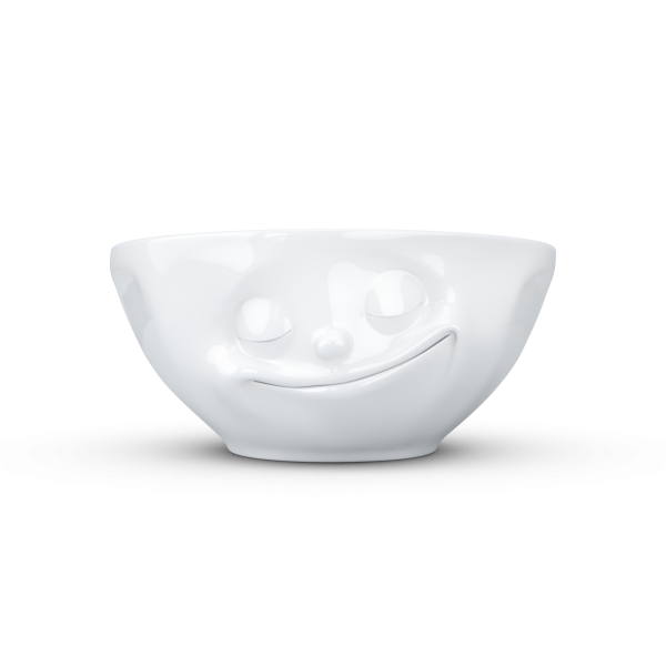 TV Tassen - Schale mit Gesicht 350 ml - glücklich - aus Porzellan