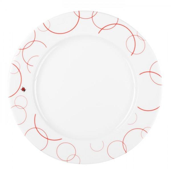 Teller aus Porzellan - Mustermix Kreise Marienkäfer rot weiß - 28 cm