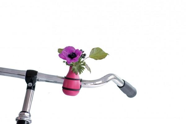 Fahrradvase Blumenvase - Holzvase Frieda - pink