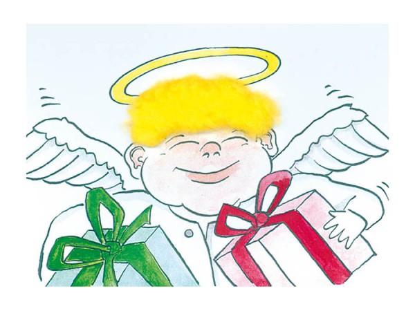 Plüsch-Postkarte - Engel - zum Anfassen