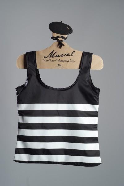 Einkaufstasche Marcel - Shirt mit schwarz-weißen Streifen