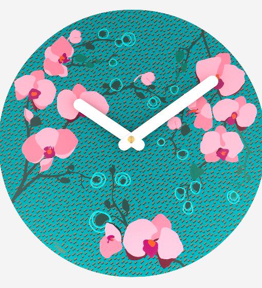 Pylones - Wanduhr Küchenuhr - Happy Time - Orchid 2