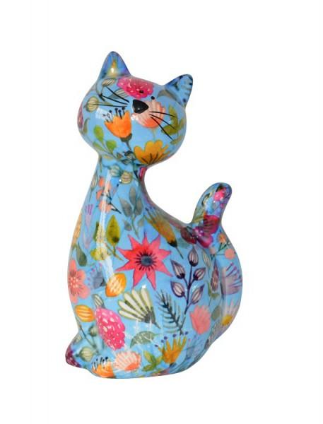 Spardose - Katze Caramel - blau mit bunten Blumen