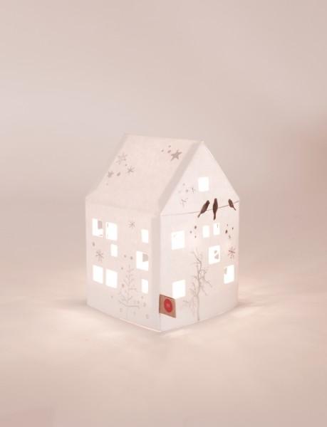 Kleines Winter Licht Haus - Bäume und Vögel - Lichthaus aus Karton mit 5er LED-Lichterkette