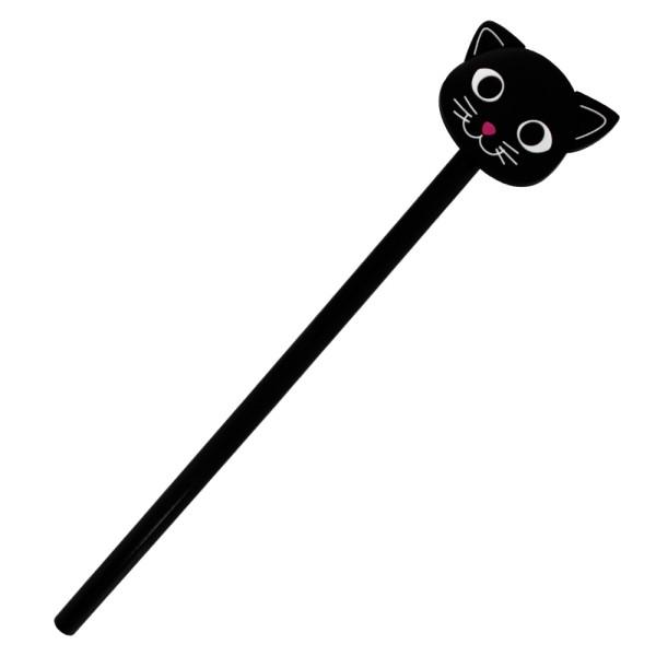 Pylones - Bleistift mit Aufsatz - Anipencil - Black Cat Katze