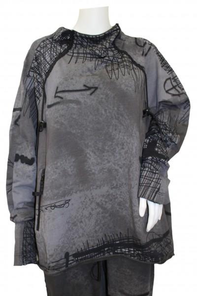 Rundholz - Black Label - T-Shirt Langarmshirt Pullover - anthra print - grau mit Muster