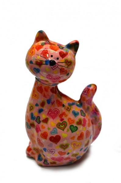 Spardose - Katze Caramel - rosa mit bunten Herzen