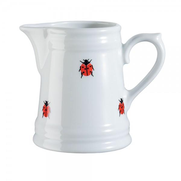 Milchkännchen - Ausgießer Milchgießer Porzellan mit Marienkäfer-Aufdruck