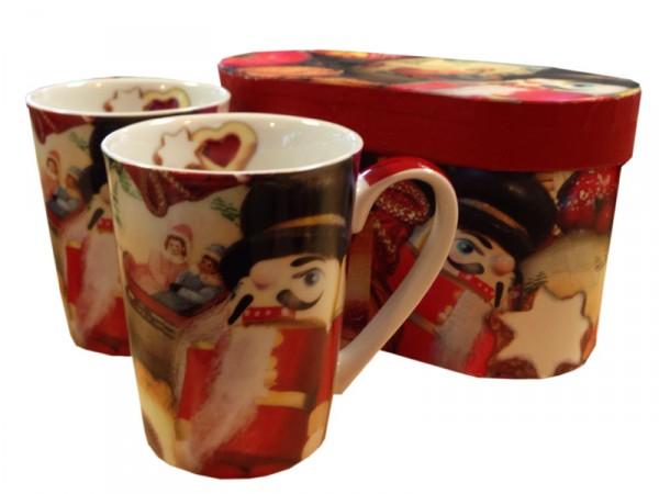 Henkelbecher - Kaffeetassen in Geschenkbox - Nussknacker