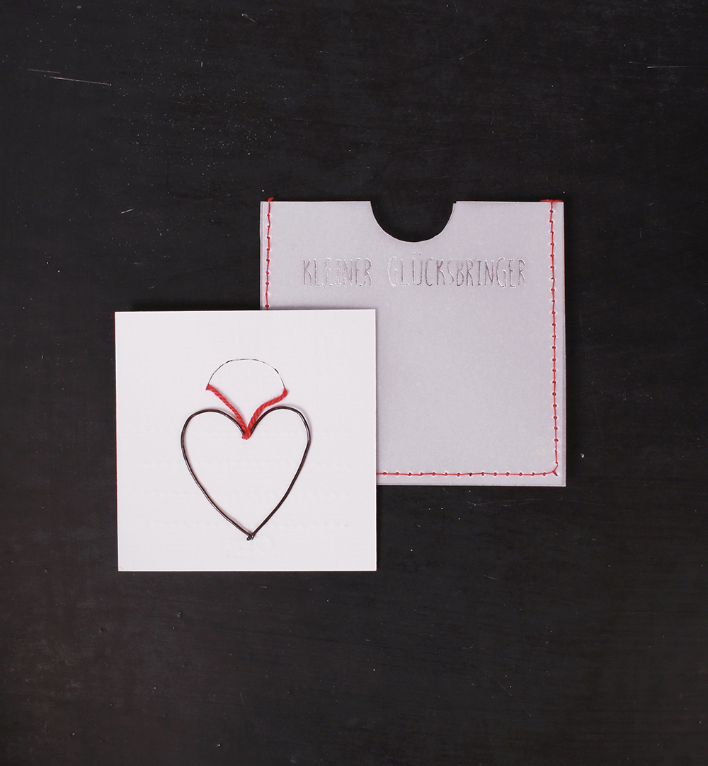 Mini-Karte mit Draht-Anhänger - Kleiner Glücksbringer - Herz ...