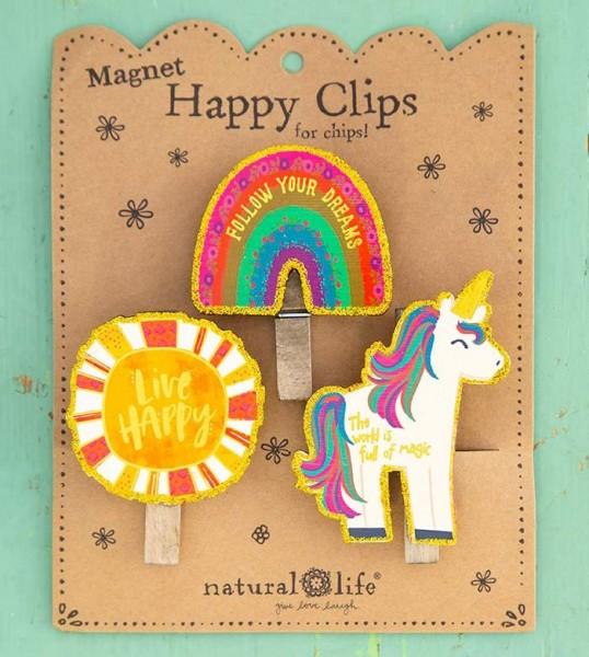 Magnet-Klammern Clips Magnete - Happy Clips Einhorn - 3er-Set