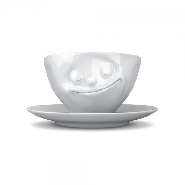 TV Tassen - Kaffeetasse mit Untertasse - glücklich