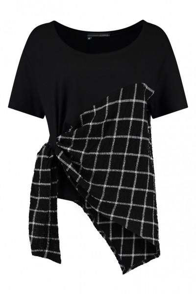 Elsewhere - Shirt Charlotte Top - black schwarz mit Karo-Muster