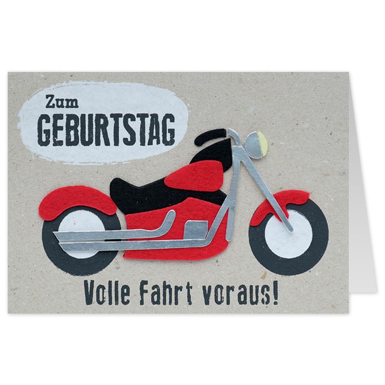 Gruss und Co   Filzkarte   Geburtstag   Motorrad   Volle Fahrt voraus