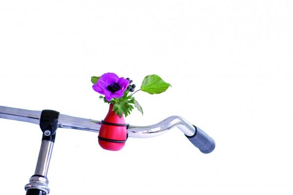 Fahrradvase Blumenvase - Holzvase Frieda - rot