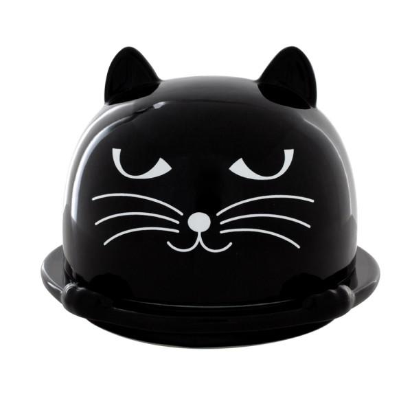 Pylones - Butterdose Katze Patapon - Für Butter bis 250 Gramm - schwarz