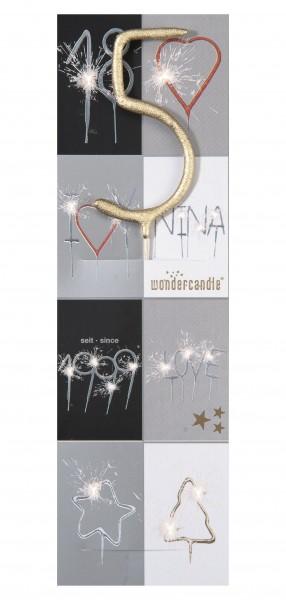 Wunderkerze - Wondercandle - Zahl 5 - Fünf - gold