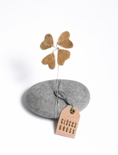 Glücksbringer - Stein mit Kleeblatt - Glücksklee Stein - gold