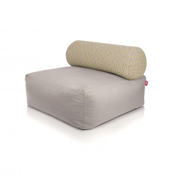 Fatboy - Sitzsessel Sofa Sitzhocker - Tsjonge - Light Grey mit Kissen Circles Yellow