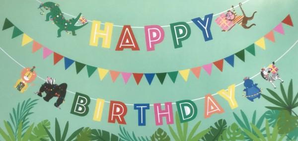 Girlande-Set Geburtstags-Dekoration - Wild Happy Birthday Banner 3 x 2 Meter