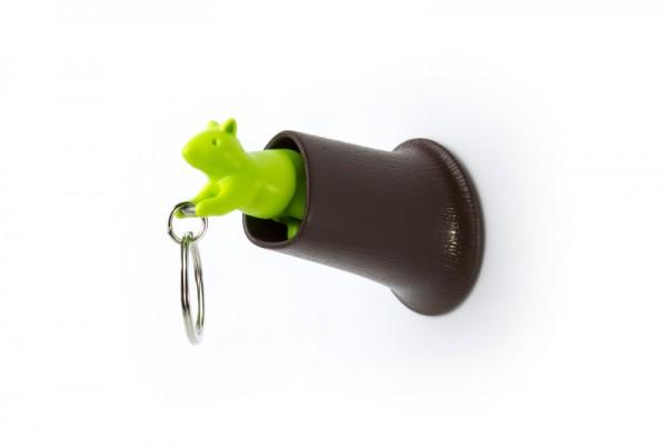 Qualy - Schlüsselanhänger - Squirrel Key Ring - braun/grün