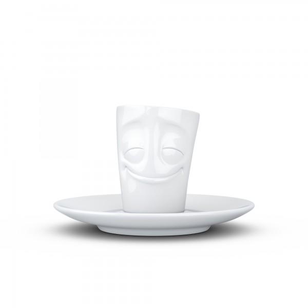 TV Tassen - Espressotasse mit Gesicht und Untertasse - vergnügt