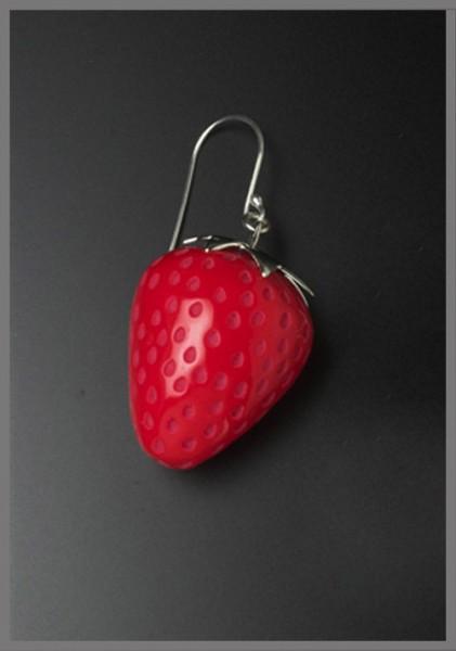 Ohrringe - Erdbeeren rot - Echtschmuck