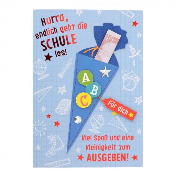 Karte Zur Einschulung.Gruss Und Co Geldgeschenk Karte Zur Einschulung Schultüte Blau
