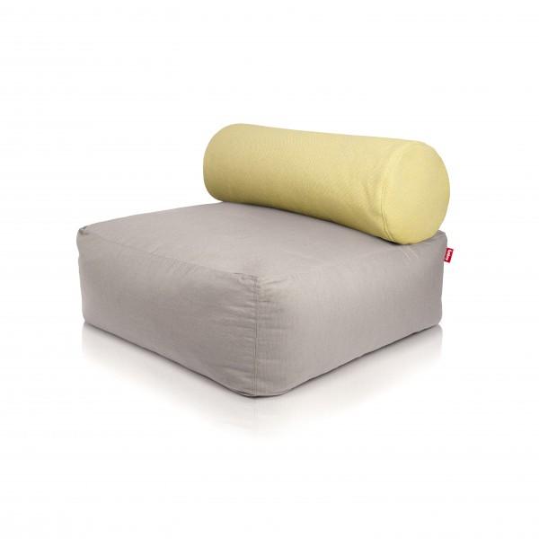 Fatboy - Sitzsessel Sofa Sitzhocker - Tsjonge - Light Grey mit Kissen Yellow